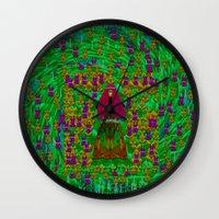 iron maiden Wall Clocks featuring Iron Maiden Heavy Metal by Pepita Selles