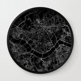 Seoul Black Map Wall Clock