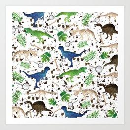 Watercolor Dinosaurs Art Print