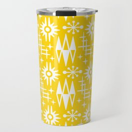 Mid Century Modern Atomic Space Age Pattern Yellow Travel Mug