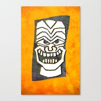 tiki Canvas Prints featuring Tiki by materndesign