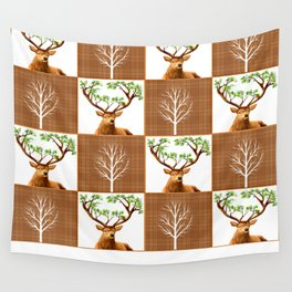 Woodland Deer Quilt Wall Tapestry