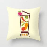 vegetable Throw Pillows featuring Vegetable smoothie by olillia