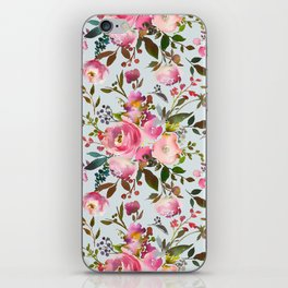 Elegant girly pink coral lilac green watercolor floral iPhone Skin