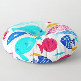 Fish Pattern - Ocean - Nautical - Sea - Swim - Crabs - Summer Floor Pillow