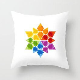 Digital Rainbow Star Throw Pillow