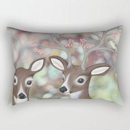 white tailed deer, warbling vireos, & cherry blossoms Rectangular Pillow
