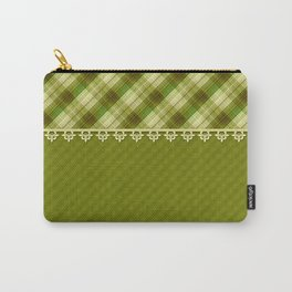 Olive plaid, plaid blanket, olive pattern, patchwork #folklore #rustic Carry-All Pouch
