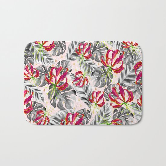 Tropical plants pattern and watercolor flowers Bath Mat