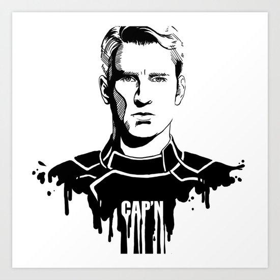 Avengers in Ink: Captain America Art Print