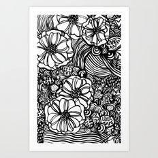 wavy inked floral Art Print