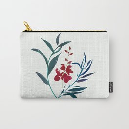 Red burgundy orchid and ocean navy blue foliage Carry-All Pouch