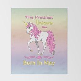 Pretty Pink Unicorn May Birthday Girl Throw Blanket