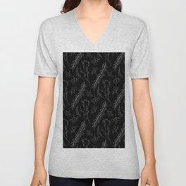 Modern black white hand painted leaves berries motif Unisex V-Neck