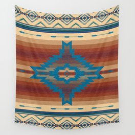 Pagosa Spirit Tribal Earth Tones and Turquoise Diamonds Wall Tapestry