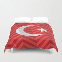 turkey Duvet Covers featuring Turkey Flag by m. arief (mochawalk)