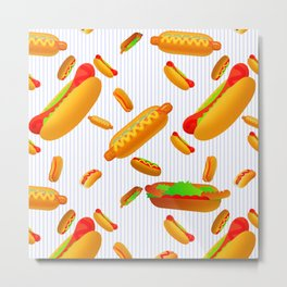 Hot Dog Pattern With Pinstripes Metal Print