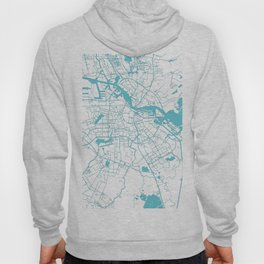 Amsterdam White on Turquoise Street Map Hoody
