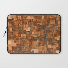 geometric square pattern abstract background in orange and brown Laptop Sleeve