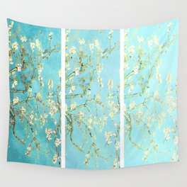 Vincent Van Gogh Almond Blossoms  Panel arT Aqua Seafoam Wall Tapestry