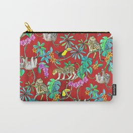 Rainforest Friends - watercolor animals on textured red Carry-All Pouch