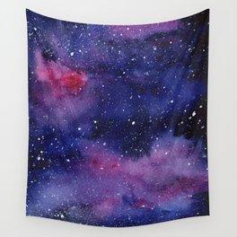 Watercolor Galaxy Nebula Pink Purple Sky Stars Wall Tapestry