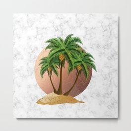 Cartoon island with palms on marble Metal Print