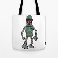 bender Tote Bags featuring Bender Fett by Andy Whittingham