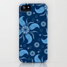 Floral Obscura Dark Blue iPhone Case