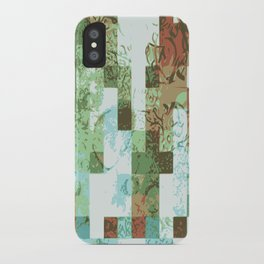 Checkered colorful abstract wall art print iPhone Case