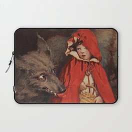 Little Red Riding Hood and the Big Bad Wolf portrait painting by Jesse Wilcox Smith Laptop Sleeve
