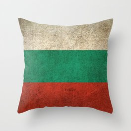 Old and Worn Distressed Vintage Flag of Bulgaria Throw Pillow