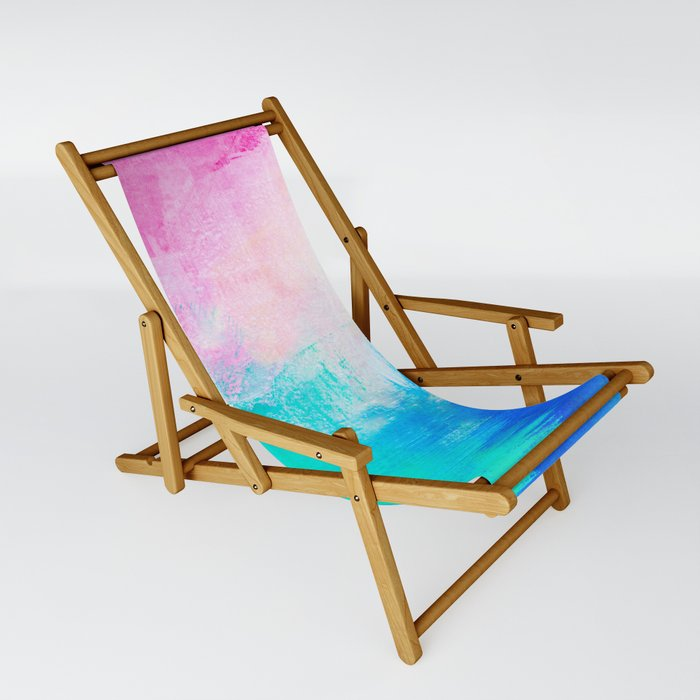 Abstract Color Blocked Painting Sling Chair