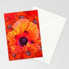 MODERN  RED-ORANGE POPPY FLOWERS  PATTERNS Stationery Cards
