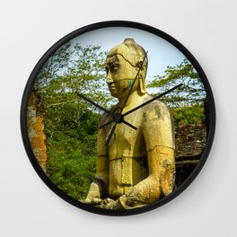 Buddha statue seated around stupa of The Polonnaruwa Vatadage Wall Clock