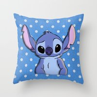 lilo and stitch Throw Pillows featuring Lilo and Stitch - Stitch by Julia Kolos
