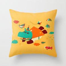 Super Hippo! Throw Pillow