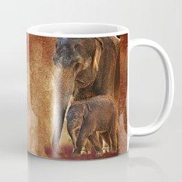 Asian Mother Elephant with Baby Coffee Mug