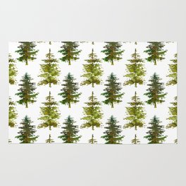 Hand painted green forest green watercolor trees motif Rug