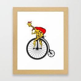 Giraffe Santa Chritmas Framed Art Print