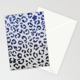 Modern navy blue black watercolor ombre leopard lace pattern Stationery Cards