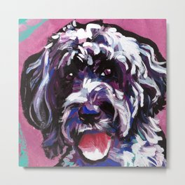 PWD Portuguese Water Dog Fun bright colorful Pop Art Dog Painting by Lea Metal Print