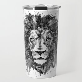 Black and White Lion Head Travel Mug