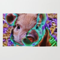 piglet Area & Throw Rugs featuring Funky Piglet by MehrFarbeimLeben