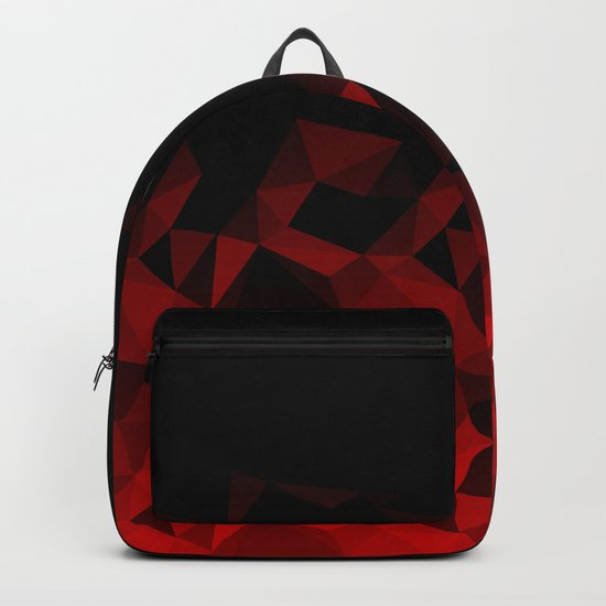 Abstract polygonal pattern .Red, black triangles. Backpack