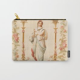 French Aubusson  Antique Tapestry Print Carry-All Pouch