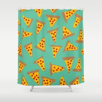 pizza Shower Curtains featuring pizza by AshlynDrake