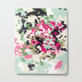 Finch - Modern abstract painting in free style modern colors navy, mint, blush, pink, white Metal Print