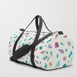 Watercolor Cristals and shells Sometimes later becomes never typography Duffle Bag