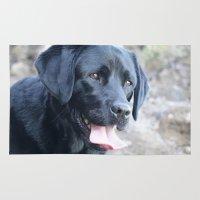 labrador Area & Throw Rugs featuring Black Labrador by MehrFarbeimLeben